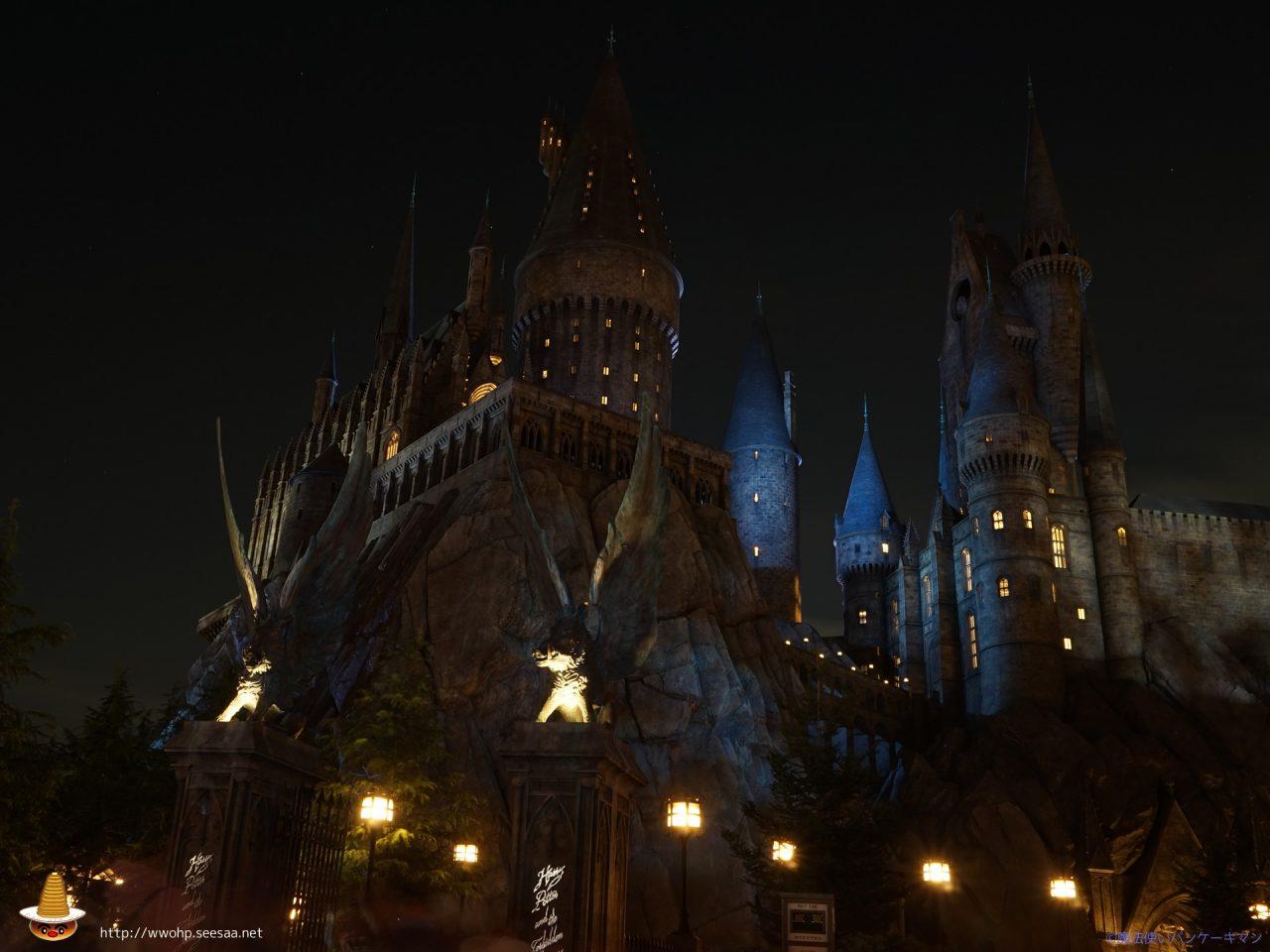 夜のホグワーツ城Hogwarts at WWOHP in USJ