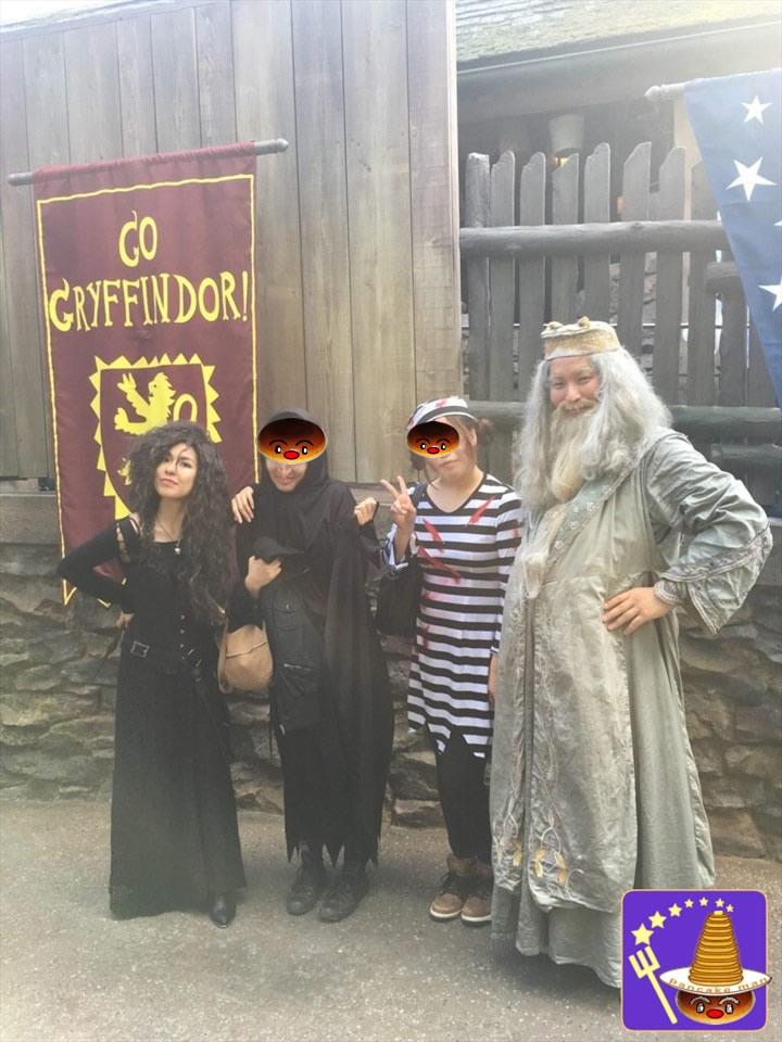 ベラトリックスとダンブルドアとハリーで魔法界ホグズミード村の散策を楽しんだ♪(USJハリポタ)魔法使いパンケーキマン