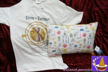 ハリーポッターの新グッズ♪Timeterner(タイムターナー)Tシャツ&魔法アイテム柄のクッション♪(USJ)