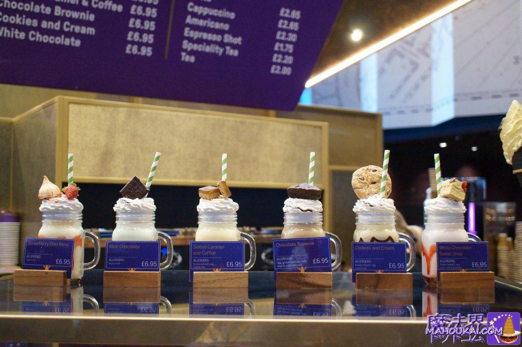 MilkShakesミルクシェイク 6.95£苺イートンメス、ミントチョコ、塩キャラメル&コーヒー、チョコレートブラウニー、クッキー&クリーム、ホワイトチョコ