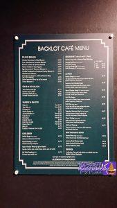バックロットカフェのメニューWBスタツア
