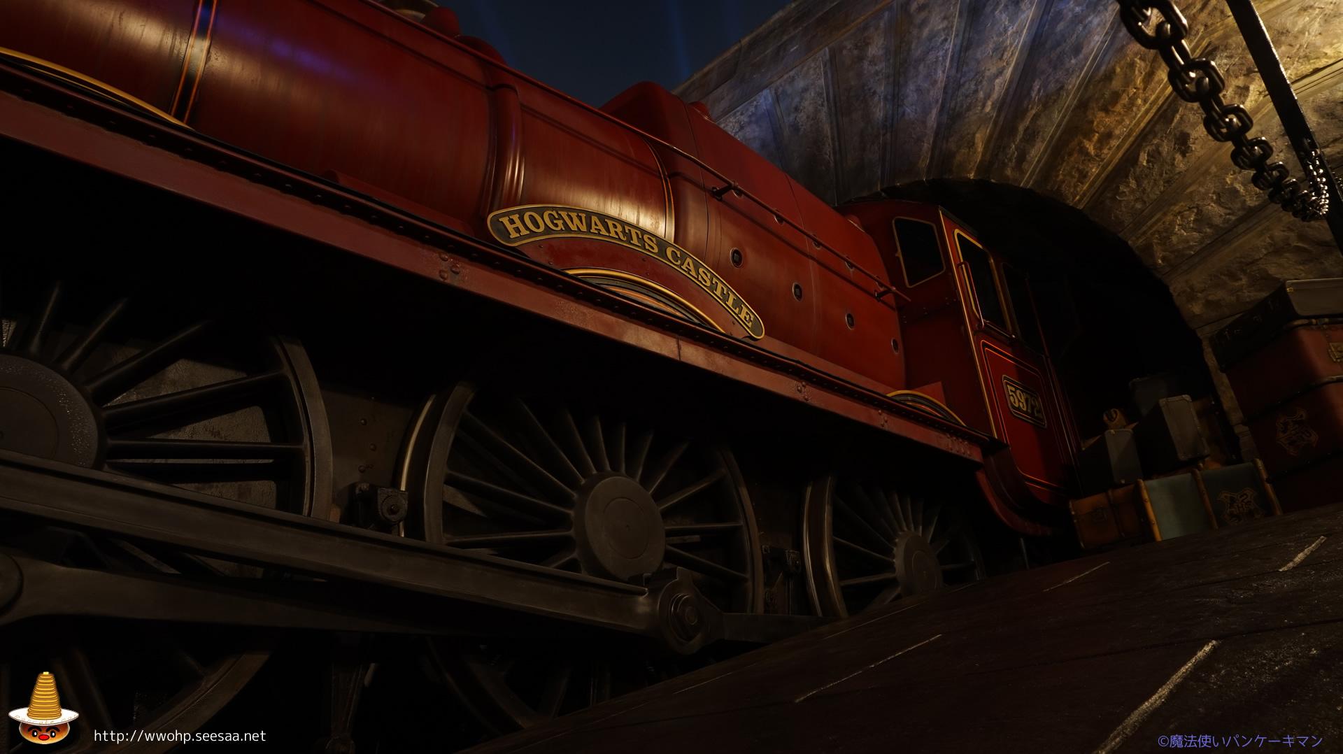 夜の紅の蒸気機関車ホグワーツエクスプレス 魔法使いパンケーキマン