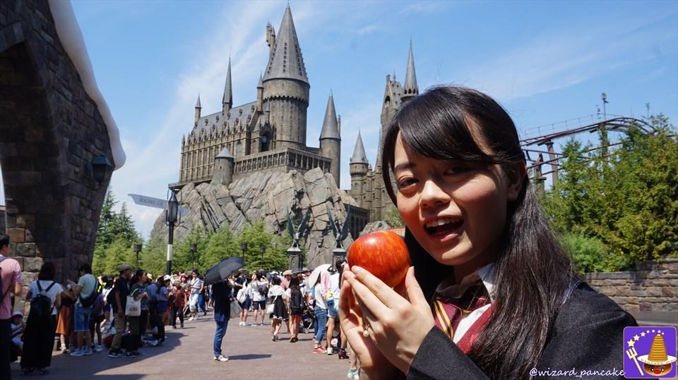 夏の暑いホグズミード村で、冷え冷えリンゴ(apple)にシャリシャリとかぶりつこう♪(USJハリポタ)魔法使いパンケーキマン
