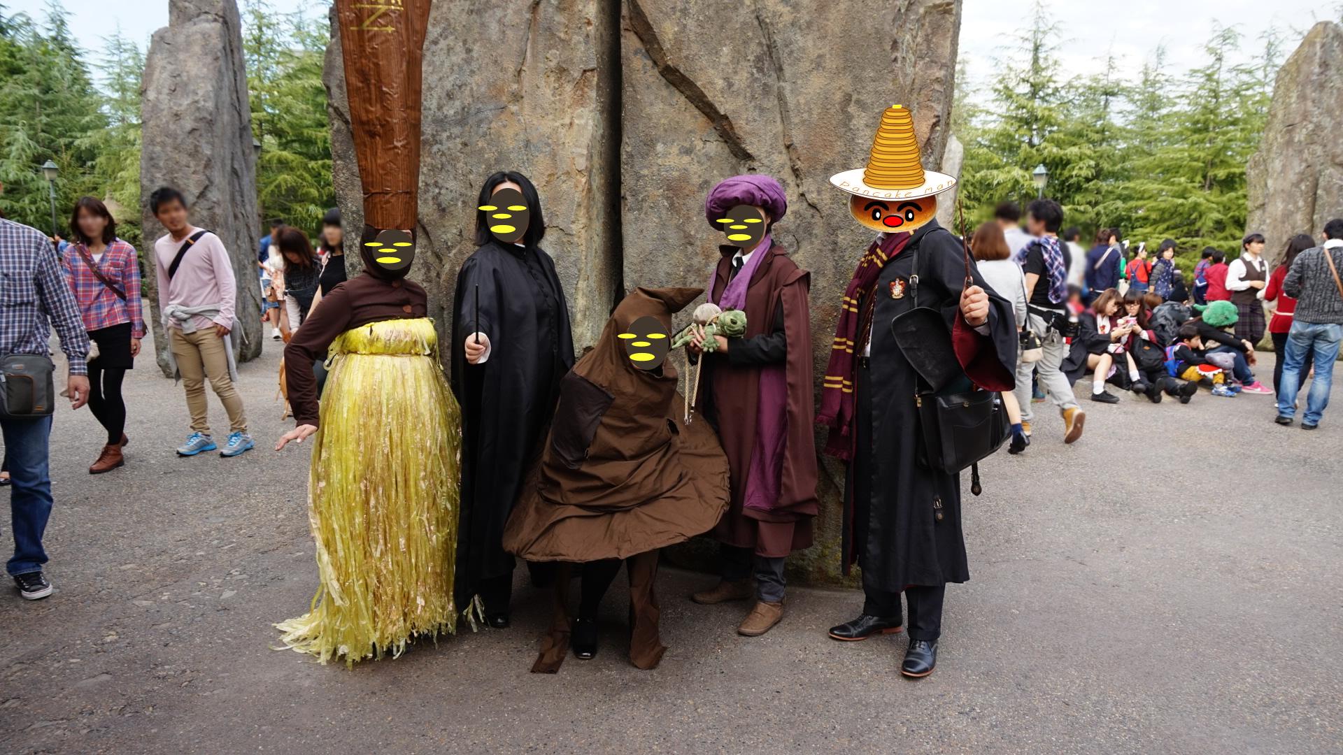 仮装でホグワーツへ スネイプ、クィレル、ディメンター、組分け帽子、ニンバス2000、グフィリンドール生