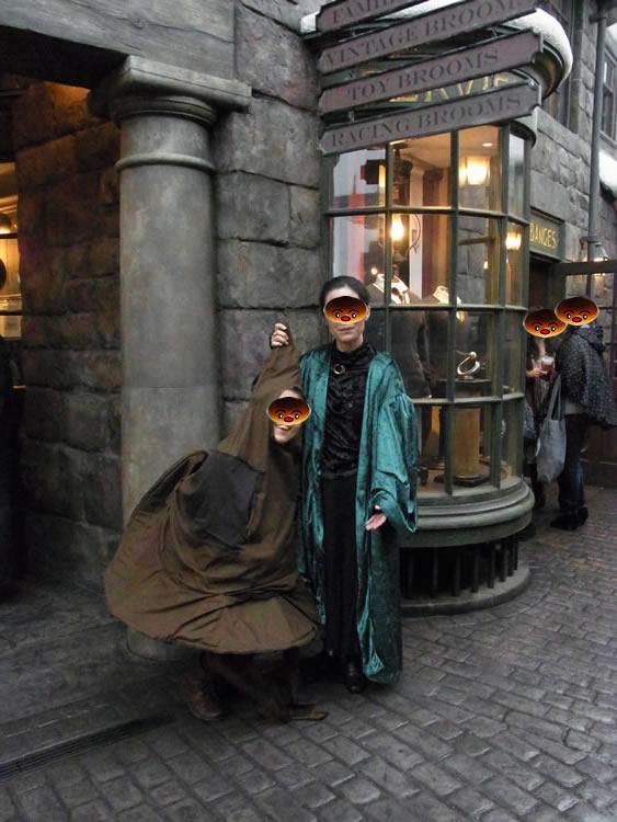 スネイプ軍団とニンバス20002代目の仮装(USJハリポタ)魔法使いパンケーキマン